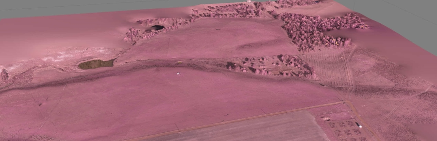 This example shows a false colour infrared image taken with the modified Canon G10 camera (taken from approximately 100 m using the Maja UAV) draped over a digital surface model derived using structure from motion techniques.