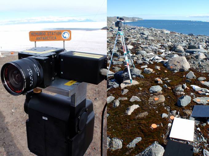 The push-broom mini-Hyperspec spectrometer unit in Antarctica (left) and during a ground-based imaging spectroscopy investigation of a coastal moss bed at Robinson Reach 2012 (right).